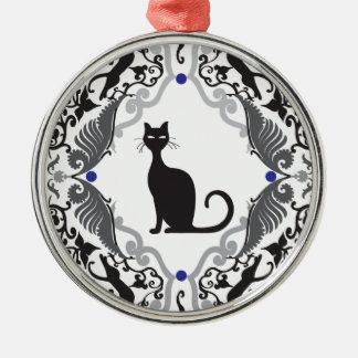 Damask cat metal ornament