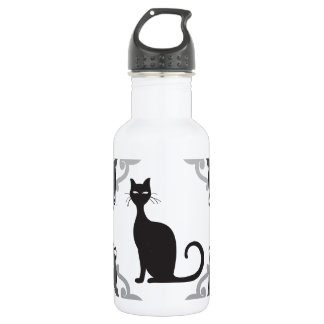 Damask cat stainless steel water bottle