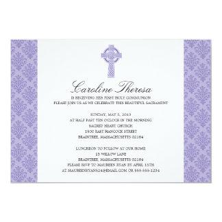 Damask Celtic Cross First Communion 5x7 Paper Invitation Card