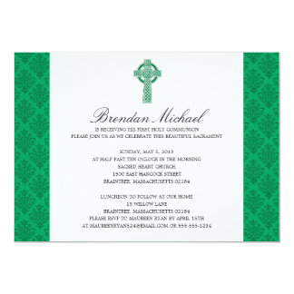 Damask Celtic Cross First Communion Card