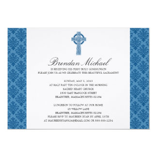 "Damask Celtic Cross First Communion 5"" X 7"" Invitation Card"