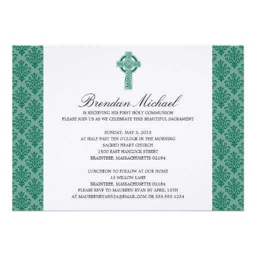 Damask Celtic Cross First Communion Invites