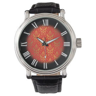 Damask Center Black and White Roman Numeral Clock Wristwatch