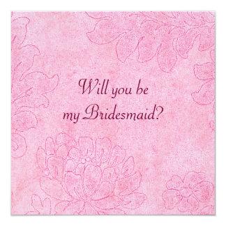 """damask - cerise bridesmaid invite 5.25"""" square invitation card"""