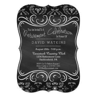 Damask & Chalkboard Retirement Party Invitation