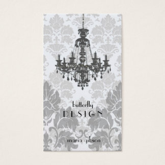 Damask Chandelier-gray Business Card (Top10)