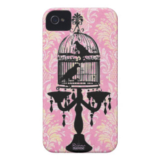 damask chandelier pink love bird iPhone 4 Case-Mate case