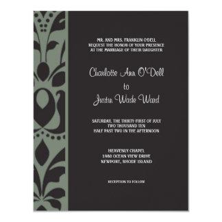 damask charcoal; wedding card