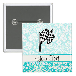Damask Checkered Flag. 2 Inch Square Button