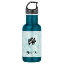 Damask Checkered Flag. Water Bottle