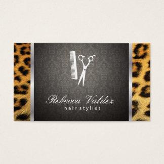 Damask / Cheetah Print / Silver Trim Business Card