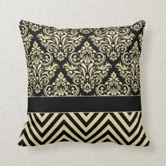Damask Chevron - black ivory Throw Pillow