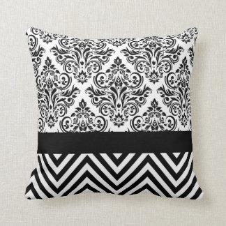 Damask Chevron - black & white Throw Pillows