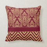 Damask Chevron - burgundy sand Pillow