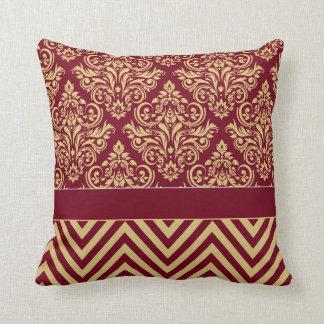 Damask Chevron - burgundy sand Throw Pillow