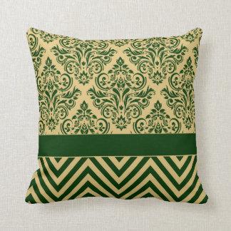 Damask Chevron - hunter green sand Pillows