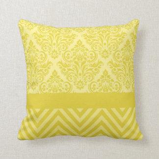 Damask Chevron - lemon yellow cream Throw Pillows