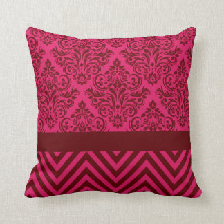 Damask Chevron - magenta claret Pillow