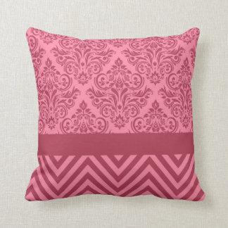 Damask Chevron - pink rose Throw Pillow