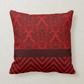 Damask Chevron - red wine Throw Pillows