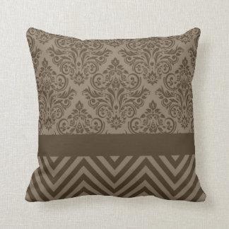 Damask Chevron - taupe brown Throw Pillows