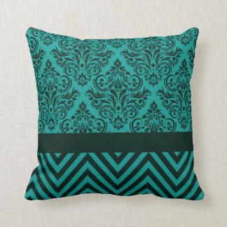 Damask Chevron - teal evergreen Throw Pillows
