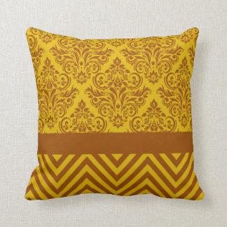 Damask Chevron - yellow brown Throw Pillow