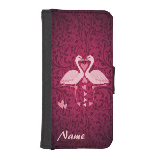 Damask chic romantic flamingos  monogram iPhone SE/5/5s wallet