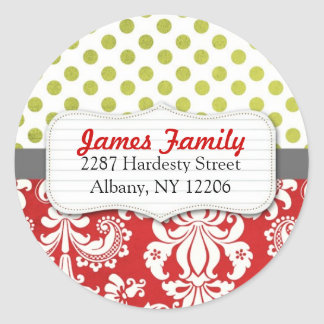 Damask Christmas Circle Address Label Classic Round Sticker