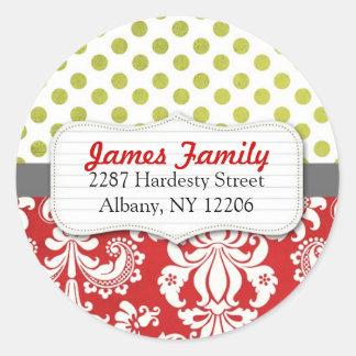 Damask Christmas Circle Address Label Round Stickers