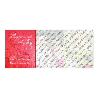 Damask Christmas Holiday 3 Photo Greeting Card