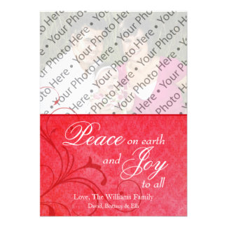 Damask Christmas Holiday Photo Greeting Card Announcements