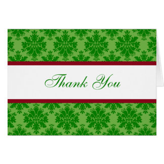 Damask Christmas Thank You Cards