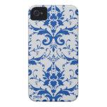 Damask: cobalt blue, light gray , custom initials iPhone 4 Case-Mate cases