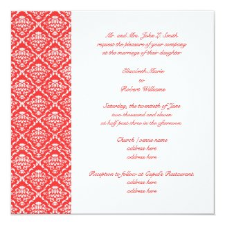 Damask Coral Wedding Invitation