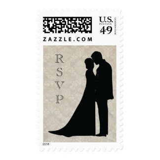 Damask Couple Silhouette RSVP Custom Stamp