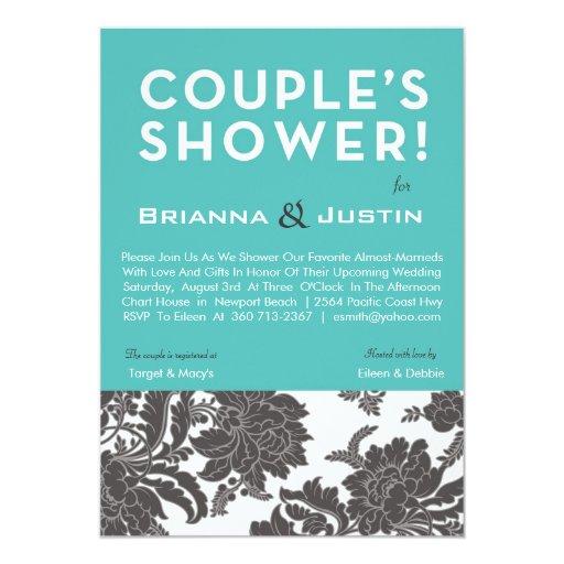 Damask Couples Bridal Shower Custom Invitation
