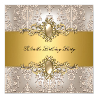 Damask Cream Gold Birthday Party Pearl Card