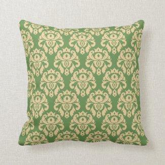 Damask Cream Green Elegant Throw Pillow