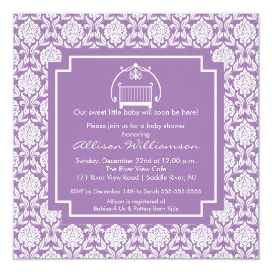 Damask Crib Baby Girl Baby Shower Invitation