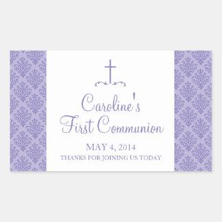Damask Cross First Communion Rectangular Sticker