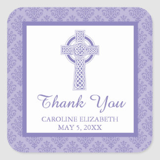 Damask Cross First Communion | Thank You Square Sticker