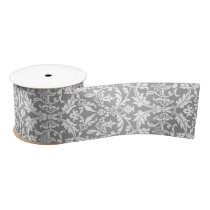 Damask Custom Background Color A04 SILVER GRAY. Satin Ribbon