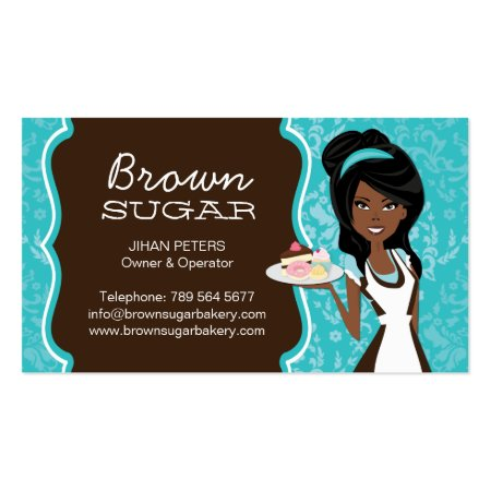 Brown and Aqua Blue Modern Design Baker's Business Cards