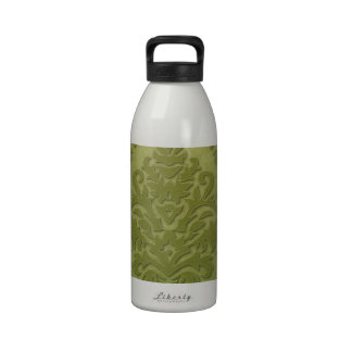 Damask Cut Velvet AGED PARCHMENT in OLIVE Water Bottle