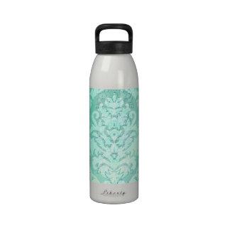 Damask Cut Velvet, ANTIQUE LACE in MINT GREEN Reusable Water Bottle