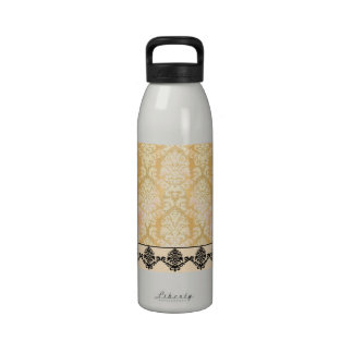 Damask Cut Velvet ANTIQUE LACE in YELLOW Water Bottles