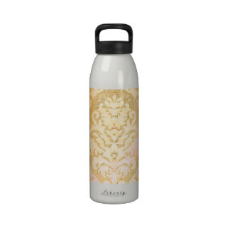 Damask Cut Velvet ANTIQUE LACE in YELLOW Reusable Water Bottle