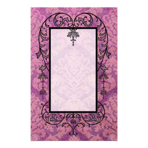 Damask Cut Velvet, Double Damask in Pink & Plum Personalized Stationery