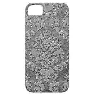 Damask Cut Velvet, Double Damask Monotone in Gray iPhone 5 Cover